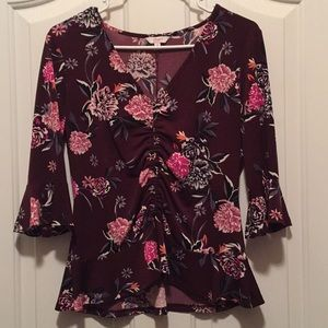 Burgundy flower rouched blouse
